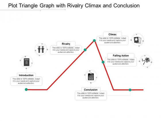 Plot Triangle Graph With Rivalry Climax And Conclusion Ppt Powerpoint Presentation Ideas Design Inspiration