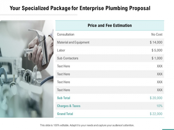 Plumbing Sanitary Works Your Specialized Package For Enterprise Plumbing Proposal Icons PDF