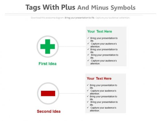 Plus Minus Signs To Define Pros And Cons Powerpoint Template