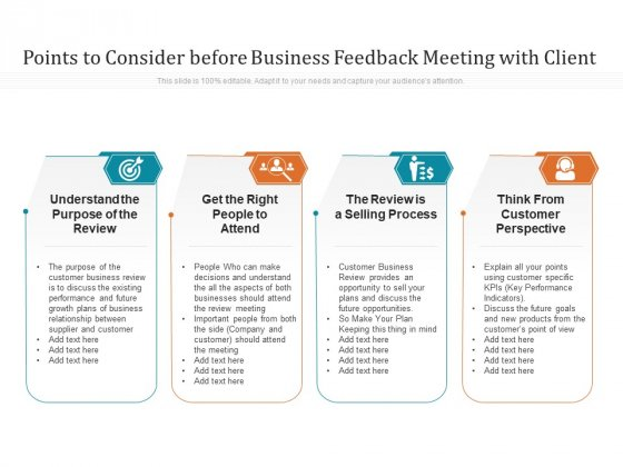 Points To Consider Before Business Feedback Meeting With Client Ppt PowerPoint Presentation Gallery Graphics Tutorials PDF