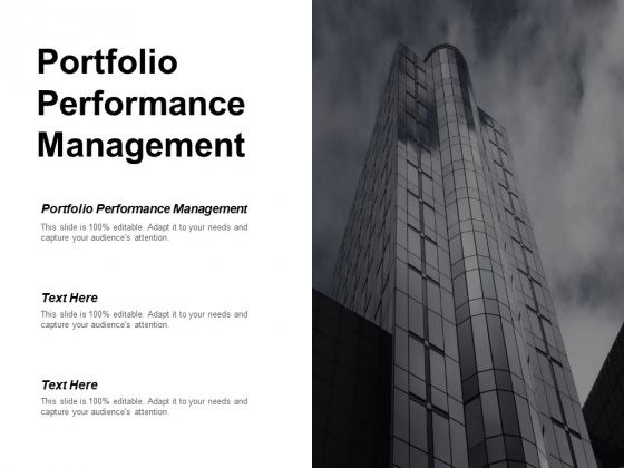Portfolio Performance Management Ppt PowerPoint Presentation Visuals Cpb