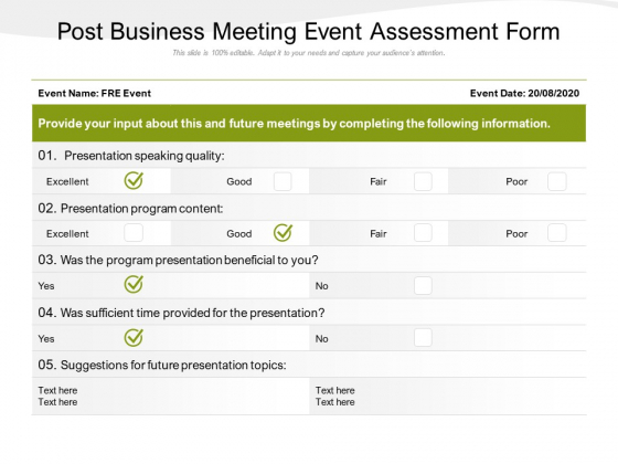 Post Business Meeting Event Assessment Form Ppt PowerPoint Presentation File Graphics Example PDF