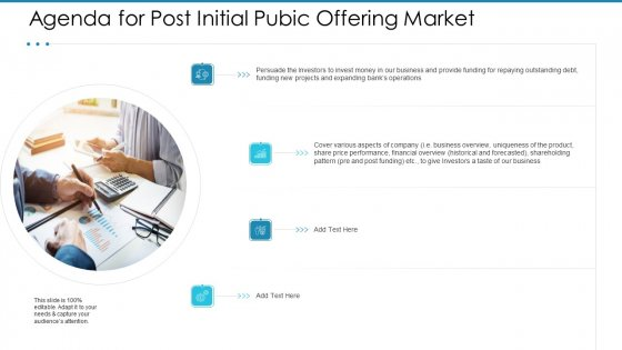 Post Initial Pubic Offering Market Pitch Deck Agenda For Post Initial Pubic Offering Market Introduction PDF