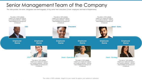 Post Initial Pubic Offering Market Pitch Deck Senior Management Team Of The Company Summary PDF