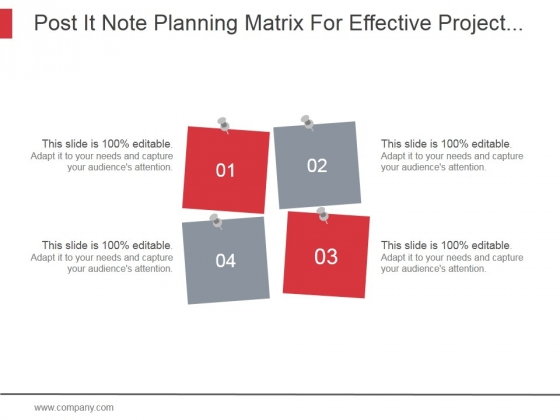 post it note planning matrix for effective project management ppt