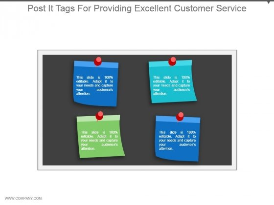 Post It Tags For Providing Excellent Customer Service Ppt Examples