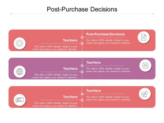 Post Purchase Decisions Ppt PowerPoint Presentation Professional Aids Cpb