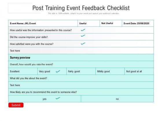 Post Training Event Feedback Checklist Ppt PowerPoint Presentation Gallery Design Inspiration PDF