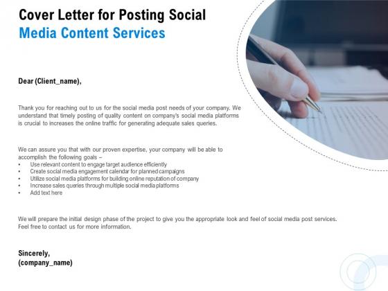 Posting Social Media Content Cover Letter For Posting Social Media Content Services Diagrams PDF