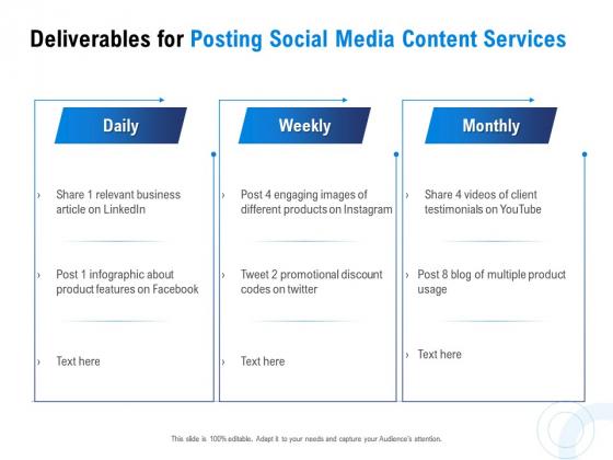 Posting Social Media Content Deliverables For Posting Social Media Content Services Portrait PDF