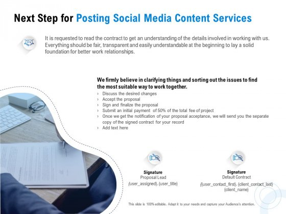 Posting Social Media Content Next Step For Posting Social Media Content Services Ppt PowerPoint Presentation Layouts Outfit PDF