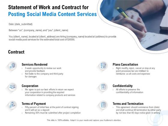 Posting Social Media Content Statement Of Work And Contract For Posting Social Media Content Services Portrait PDF