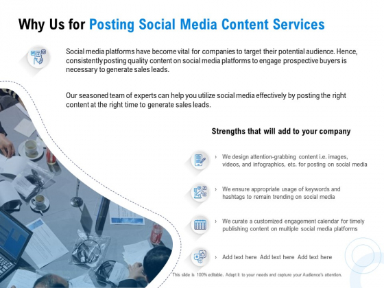 Posting Social Media Content Why Us For Posting Social Media Content Services Ppt PowerPoint Presentation Inspiration Ideas PDF