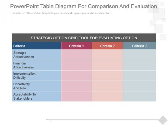 Powerpoint table diagram for comparison and evaluation ppt powerpointtablediagramforcomparisonandevaluationpptpowerpointpresentationmicrosoftslide1 ccuart Images