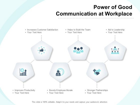 Power Of Good Communication At Workplace Ppt PowerPoint Presentation Ideas Maker