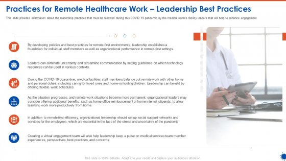 Practices For Remote Healthcare Work Leadership Best Practices Pictures PDF