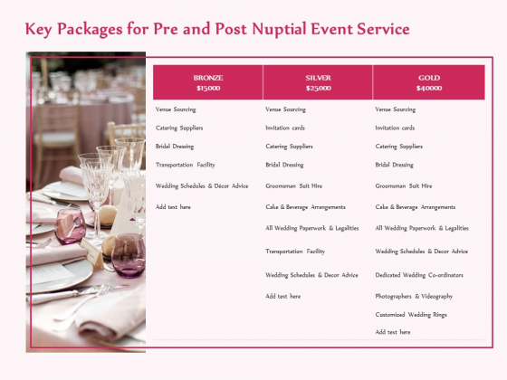 Pre Postnuptial Key Packages For Pre And Post Nuptial Event Service Ppt Show Layout PDF