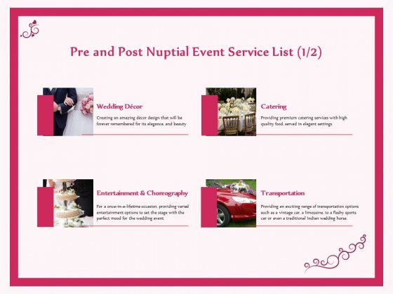 Pre Postnuptial Pre And Post Nuptial Event Service List Decor Ppt Infographic Template Outfit PDF