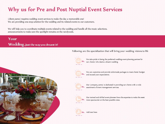 Pre Postnuptial Why Us For Pre And Post Nuptial Event Services Ppt Portfolio Gridlines PDF