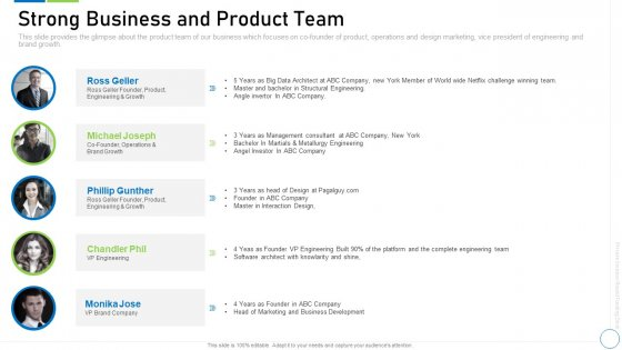 Pre Seed Funding Deck Strong Business And Product Team Introduction PDF