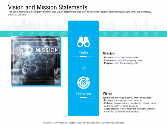 Pre Seed Funding Pitch Deck Vision And Mission Statements Ppt Summary Graphics Design PDF