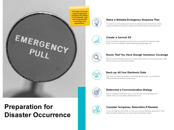 Preparation For Disaster Occurrence Ppt PowerPoint Presentation File Aids