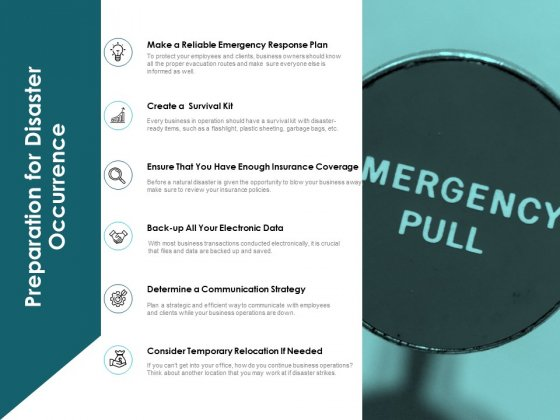 Preparation For Disaster Occurrence Ppt PowerPoint Presentation Slides Vector