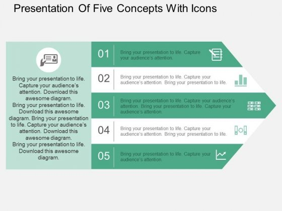 Presentation Of Five Concepts With Icons Powerpoint Templates