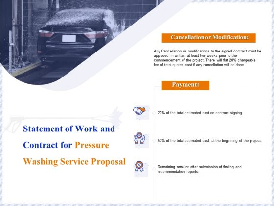 Pressure Cleaning Proposal And Service Agreement Statement Of Work And Contract For Pressure Washing Service Proposal Mockup PDF