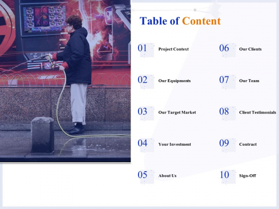 Pressure Cleaning Proposal And Service Agreement Table Of Content Template PDF