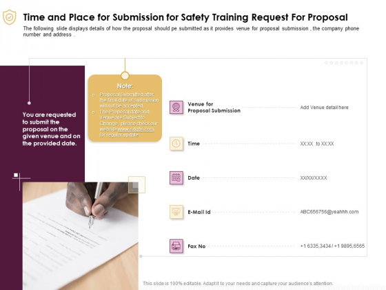 Preventive Measures Workplace Time And Place For Submission For Safety Training Request For Proposal Summary PDF