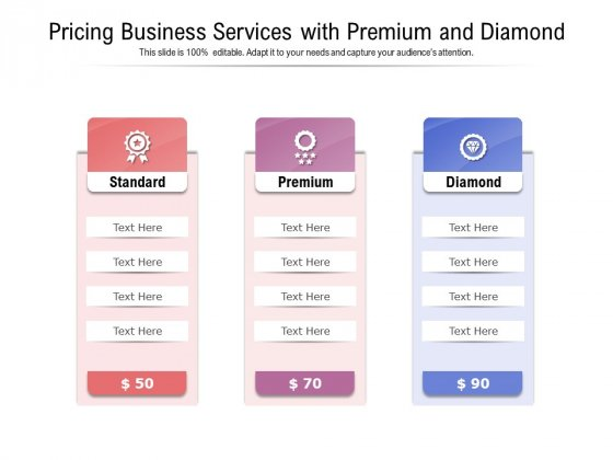 Pricing Business Services With Premium And Diamond Ppt PowerPoint Presentation Portfolio Graphic Tips PDF
