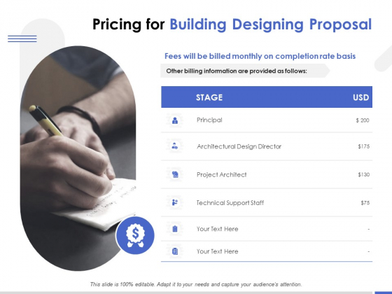 Pricing For Building Designing Proposal Ppt PowerPoint Presentation Show Graphics Template