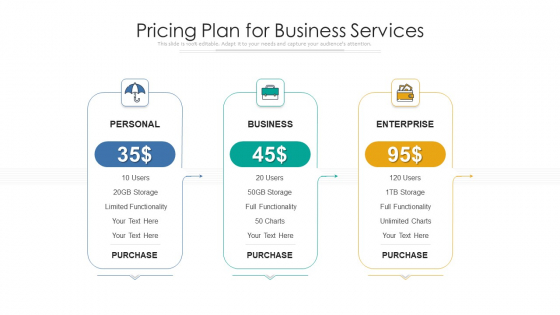 Pricing Plan For Business Services Ppt Summary Graphics PDF