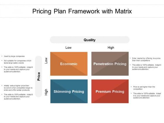 Pricing Plan Framework With Matrix Ppt PowerPoint Presentation Show Design Ideas PDF