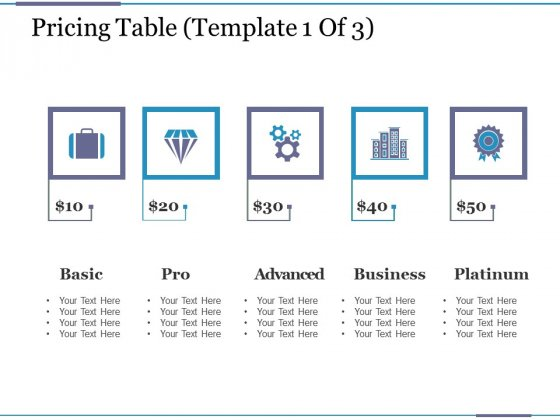 Pricing Table Template 1 Ppt PowerPoint Presentation Icon Rules
