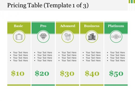 Pricing Table Template 1 Ppt PowerPoint Presentation Portfolio Files