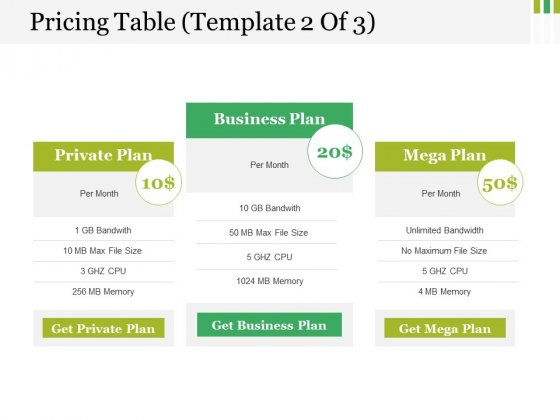 Pricing Table Template 2 Ppt PowerPoint Presentation Clipart