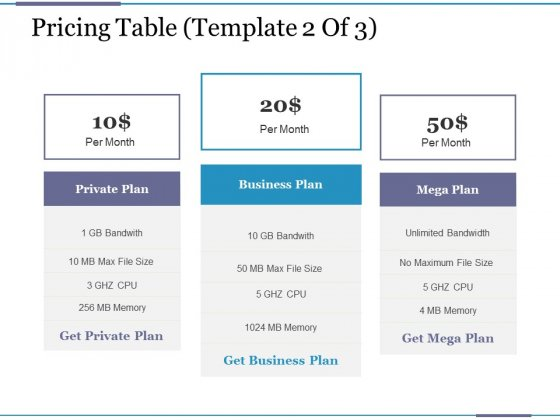 Pricing Table Template 2 Ppt PowerPoint Presentation Portfolio Topics