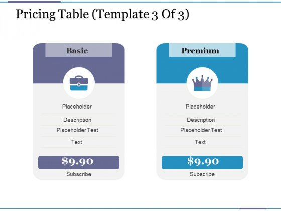 Pricing Table Template 3 Ppt PowerPoint Presentation Model Guidelines