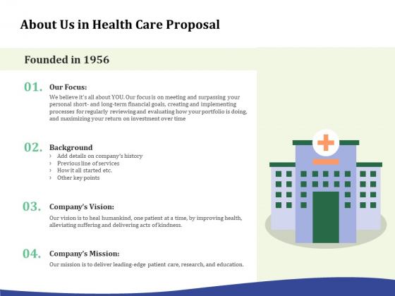 Primary Healthcare Implementation Service About Us In Health Care Proposal Download PDF