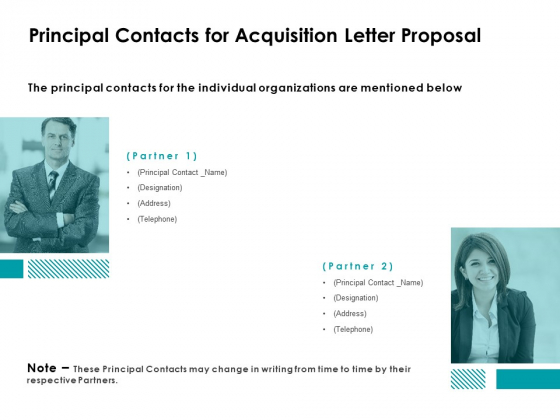 Principal Contacts For Acquisition Letter Proposal Ppt Powerpoint Presentation Infographic Template Maker