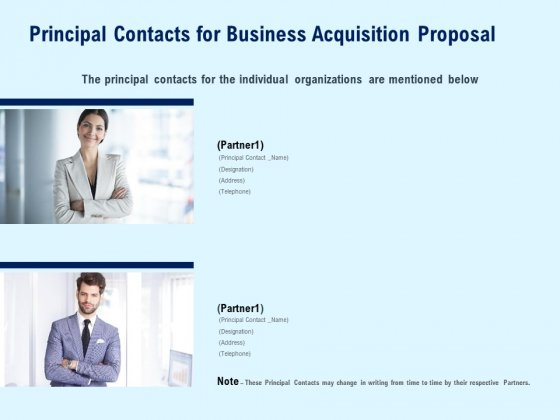Principal Contacts For Business Acquisition Proposal Ppt PowerPoint Presentation Professional Design Ideas