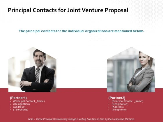 Principal Contacts For Joint Venture Proposal Ppt PowerPoint Presentation Summary Graphics Tutorials