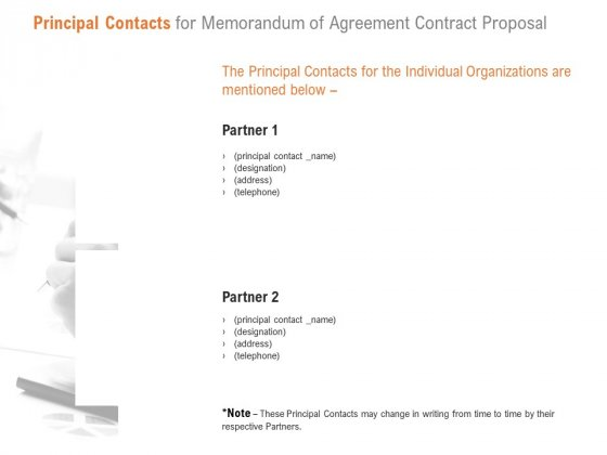 Principal Contacts For Memorandum Of Agreement Contract Proposal Ppt PowerPoint Presentation Icon Background Image