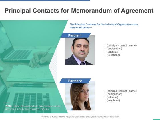 Principal Contacts For Memorandum Of Agreement Ppt PowerPoint Presentation Slides Design Inspiration