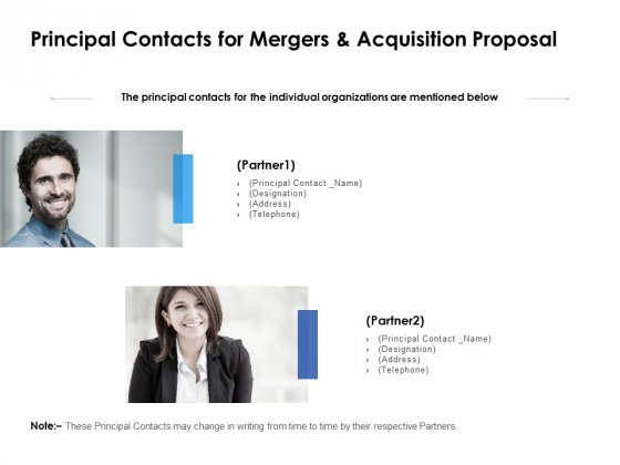 Principal Contacts For Mergers And Acquisition Proposal Ppt PowerPoint Presentation Inspiration Background Images
