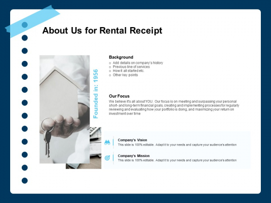 Printable Rent Receipt Template About Us For Rental Receipt Ppt PowerPoint Presentation Pictures Tips PDF
