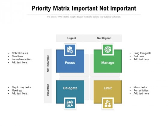 Priority Matrix Important Not Important Ppt PowerPoint Presentation Gallery Slide Portrait PDF