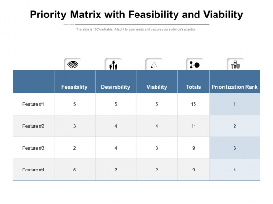 Priority Matrix With Feasibility And Viability Ppt Powerpoint Presentation Styles Example Pdf